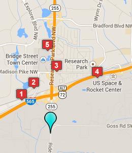 Map Of Hotels Near Marshall E Flight Center