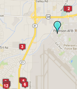 Map of Lodging near<br>Peterson AFB lodging