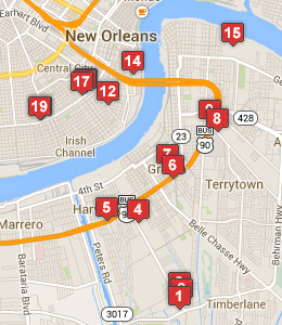 Map of NAS JRB New Orleans lodging