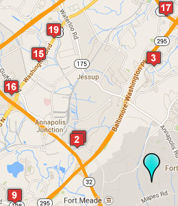 Map Of Hotels Near Fort Meade