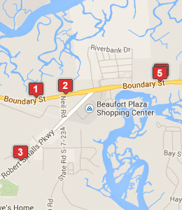 Map of MCAS Beaufort lodging