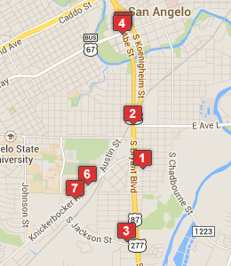 Map Of Hotels Near Goodfellow Air Force Base