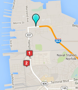 Map of Naval Station Norfolk lodging